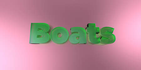 royalty free: Boats - colorful glass text on vibrant background - 3D rendered royalty free stock image. Stock Photo
