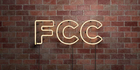 fcc: FCC - fluorescent Neon tube Sign on brickwork - Front view - 3D rendered royalty free stock picture. Can be used for online banner ads and direct mailers. Stock Photo
