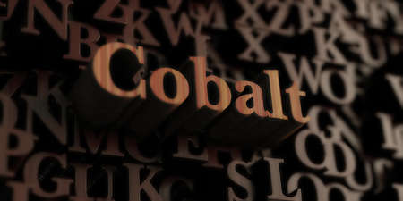 Cobalt - Wooden 3D rendered lettersmessage.  Can be used for an online banner ad or a print postcard. Stock Photo