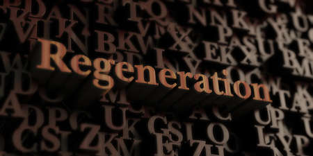 Regeneration - Wooden 3D rendered lettersmessage.  Can be used for an online banner ad or a print postcard. Stock Photo