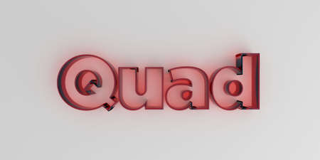 Quad - Red glass text on white background - 3D rendered royalty free stock image.