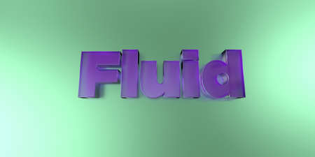 royalty free: Fluid - colorful glass text on vibrant background - 3D rendered royalty free stock image. Stock Photo