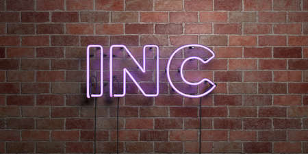 INC - fluorescent Neon tube Sign on brickwork - Front view - 3D rendered royalty free stock picture. Can be used for online banner ads and direct mailers. Stock Photo - 72569723