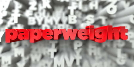 paperweight -  Red text on typography background - 3D rendered royalty free stock image. This image can be used for an online website banner ad or a print postcard. Stock Photo