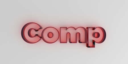royalty free: Comp - Red glass text on white background - 3D rendered royalty free stock image.