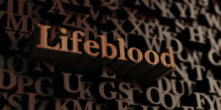 lifeblood: Lifeblood - Wooden 3D rendered lettersmessage.  Can be used for an online banner ad or a print postcard. Stock Photo