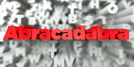 Abracadabra -  Red text on typography background - 3D rendered royalty free stock image. This image can be used for an online website banner ad or a print postcard.