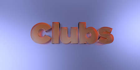 computer club: Clubs - colorful glass text on vibrant background - 3D rendered royalty free stock image.