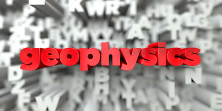 geophysics -  Red text on typography background - 3D rendered royalty free stock image. This image can be used for an online website banner ad or a print postcard.