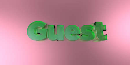 Guest - colorful glass text on vibrant background - 3D rendered royalty free stock image. Stock fotó