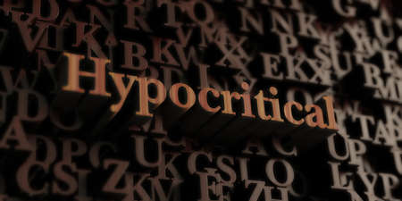 hypocritical: Hypocritical - Wooden 3D rendered lettersmessage.  Can be used for an online banner ad or a print postcard. Foto de archivo