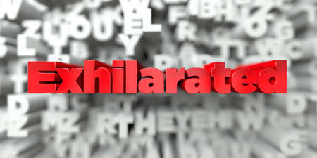 exhilarated: Exhilarated -  Red text on typography background - 3D rendered royalty free stock image. This image can be used for an online website banner ad or a print postcard. Stock Photo