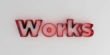 royalty free: Works - Red glass text on white background - 3D rendered royalty free stock image.