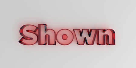 royalty free: Shown - Red glass text on white background - 3D rendered royalty free stock image. Stock Photo