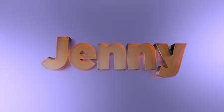 jenny: Jenny - colorful glass text on vibrant background - 3D rendered royalty free stock image. Stock Photo