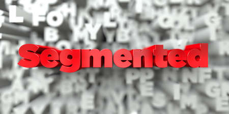 segmented bodies: Segmented -  Red text on typography background - 3D rendered royalty free stock image. This image can be used for an online website banner ad or a print postcard.