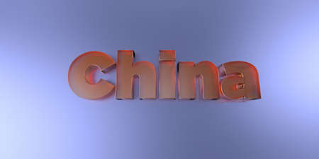 China - colorful glass text on vibrant background - 3D rendered royalty free stock image.