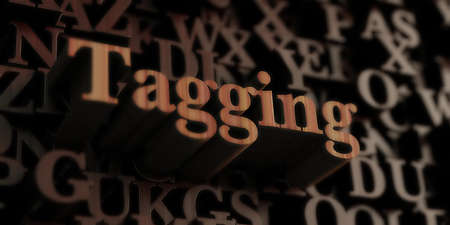 tagging: Tagging - Wooden 3D rendered lettersmessage.  Can be used for an online banner ad or a print postcard.