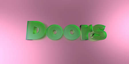 royalty free: Doors - colorful glass text on vibrant background - 3D rendered royalty free stock image.