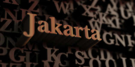 Jakarta - Wooden 3D rendered lettersmessage.  Can be used for an online banner ad or a print postcard.