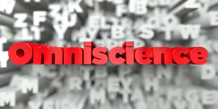 Omniscience -  Red text on typography background - 3D rendered royalty free stock image. This image can be used for an online website banner ad or a print postcard.