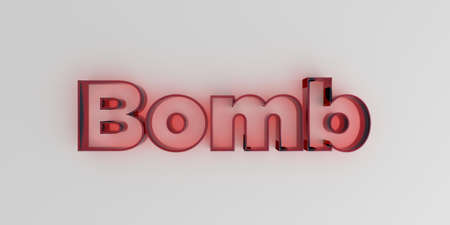 royalty free: Bomb - Red glass text on white background - 3D rendered royalty free stock image.