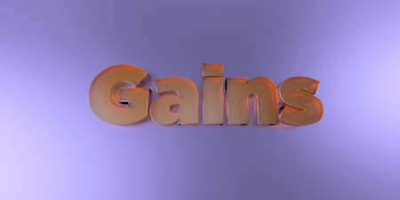 Gains - colorful glass text on vibrant background - 3D rendered royalty free stock image.