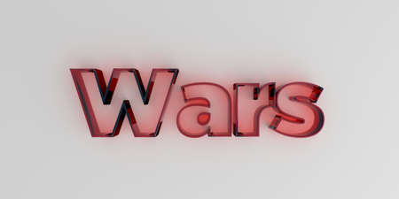 royalty free: Wars - Red glass text on white background - 3D rendered royalty free stock image.