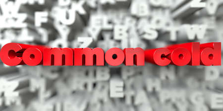 common cold: Common cold -  Red text on typography background - 3D rendered royalty free stock image. This image can be used for an online website banner ad or a print postcard. Stock Photo