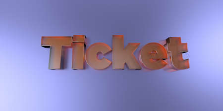 royalty free: Ticket - colorful glass text on vibrant background - 3D rendered royalty free stock image. Stock Photo