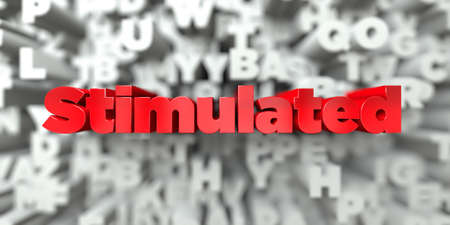 Stimulated -  Red text on typography background - 3D rendered royalty free stock image. This image can be used for an online website banner ad or a print postcard. Stock Photo