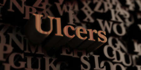 Ulcers - Wooden 3D rendered lettersmessage.  Can be used for an online banner ad or a print postcard.