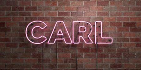 カール蛍光ネオン管サイン レンガ - 正面に 3 D レンダリングされたロイヤリティ フリー ストック画像。オンライン バナー広告やダイレクト メール