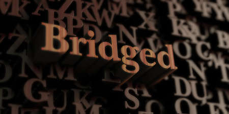 bridged: Bridged - Wooden 3D rendered lettersmessage.  Can be used for an online banner ad or a print postcard. Stock Photo