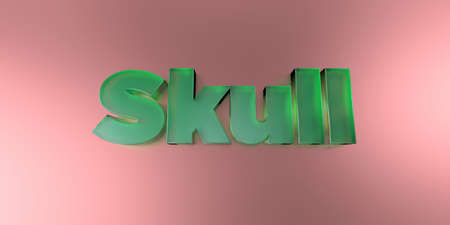 royalty free: Skull - colorful glass text on vibrant background - 3D rendered royalty free stock image.