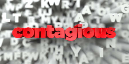 contagious: contagious -  Red text on typography background - 3D rendered royalty free stock image. This image can be used for an online website banner ad or a print postcard. Stock Photo