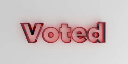 voted: Voted - Red glass text on white background - 3D rendered royalty free stock image. Stock Photo