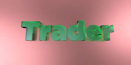 stock trader: Trader - colorful glass text on vibrant background - 3D rendered royalty free stock image.