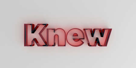 knew: Knew - Red glass text on white background - 3D rendered royalty free stock image. Stock Photo