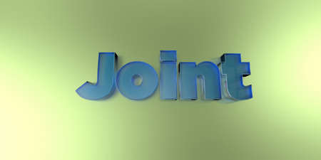 royalty free: Joint - colorful glass text on vibrant background - 3D rendered royalty free stock image.