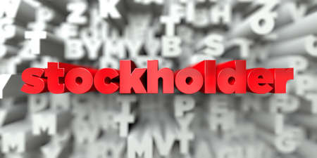 stockholder: stockholder -  Red text on typography background - 3D rendered royalty free stock image. This image can be used for an online website banner ad or a print postcard.