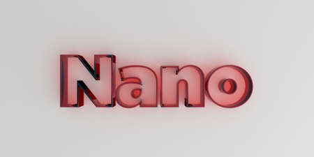 Nano - Red glass text on white background - 3D rendered royalty free stock image. Фото со стока