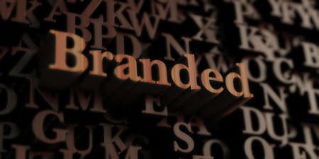 Branded - Wooden 3D rendered lettersmessage.  Can be used for an online banner ad or a print postcard.