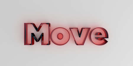 royalty free: Move - Red glass text on white background - 3D rendered royalty free stock image.