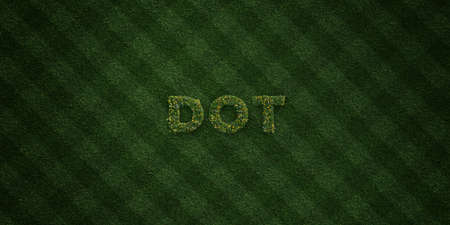 three dots: DOT - fresh Grass letters with flowers and dandelions - 3D rendered royalty free stock image. Can be used for online banner ads and direct mailers. Stock Photo