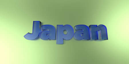 Japan - colorful glass text on vibrant background - 3D rendered royalty free stock image.