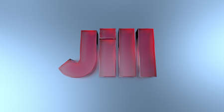 jill: Jill - colorful glass text on vibrant background - 3D rendered royalty free stock image. Stock Photo