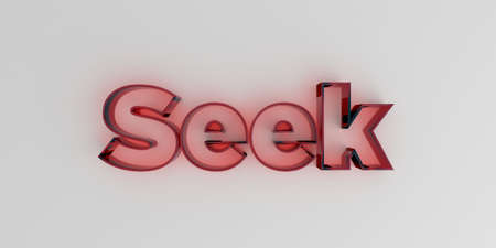 Seek - Red glass text on white background - 3D rendered royalty free stock image.