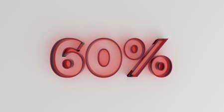 60% - Red glass text on white background - 3D rendered royalty free stock image.