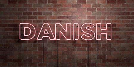デンマーク語 - 蛍光ネオン管サイン レンガ - 前面ビュー - 3 D レンダリングされたロイヤリティの無料ストック画像。オンライン バナー広告やダイ 写真素材